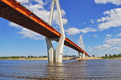 Big cable-braced bridge in Murom, Russia Stock Photo
