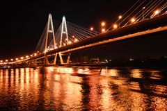 Big cable bridge at night, St.Petersburg Royalty Free Stock Images