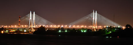 Big cable-stayed bridge at night Royalty Free Stock Image