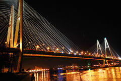 Big cable-stayed bridge at night, St.Petersburg Royalty Free Stock Photos