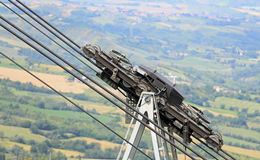 Big cables and pulleys with Gears of the mountain cable car Stock Photo