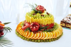 Big cake with delicious fruit. The concept of healthy and useful Royalty Free Stock Photo