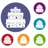 Big cake icons set. In flat circle red, blue and green color for web Royalty Free Stock Photos