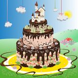 Big cake with the white castle. Big chocolate festival cake with the castle on top. Wonderland with big cake in the middle, castle on top, clouds and sun Royalty Free Stock Photography