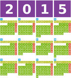 Big 2015 Calendar in Flat Design with Simple Square Icons. Big 2015 calendar from january to december in flat design using simple square icons with green Royalty Free Illustration