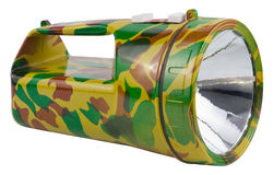 Big camouflage military flashlight on white Royalty Free Stock Image
