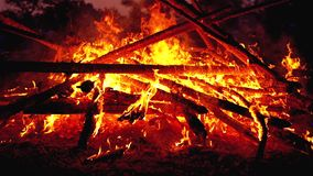 Big Campfire of the Logs Burns at Night in the Forest. Slow Motion in 180 fps. Large Fire Brightly Burning on Black Background. Close-up. Red Flames and Embers stock video footage