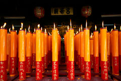 Big Candle in chinese temple Stock Photos