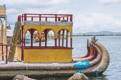 Big cane boat. On lake Titicaca by sunny day in Peru royalty free stock photos