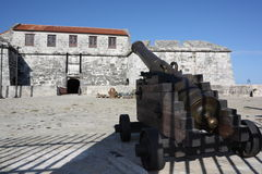 Big cannon in the Castle of Force entrance. Cuba Stock Image