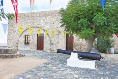 Big cannon at the castle of Monemvasia Lakonia Peloponnese Greece Stock Photography