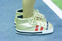 The big canvas shoes. Stock Image