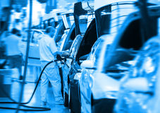 Big car factory. Work at big car factory industry Stock Image