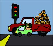 A big car next to a small car. Illustration of two cars standing next to each other waiting at traffic lights Stock Images