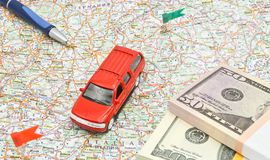 Big car, notes and pen on map Royalty Free Stock Photography
