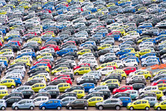 Big car parking in Copenhagen harbor Stock Image