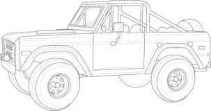 Big car, truck with outlines. Vector illustration in black and white. royalty free illustration