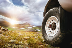 Big car wheel offroad concept royalty free stock images