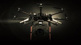 Big Carbon Drone dslr dji summer in photo studio. Big Carbon Drone dslr dji summer in the air with gimbal RC RX with propellers Stock Images