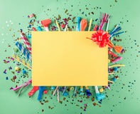 Big card with party confetti, balloons, streamers, noisemakers a