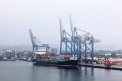 Big cargo ship in Copenhagen cargo seaport Stock Photos