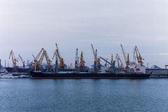 Big cargo ship in harbour at winter Royalty Free Stock Photo