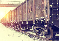 Big cargo transportation by rail Royalty Free Stock Image