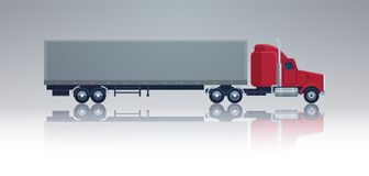 Big Cargo Truck Trailer Vehicle Isolated Template Element Semitrailer Side View Shipping And Delivery Concept. Vector Illustration Stock Images