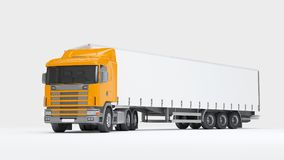 Logistics concept. Cargo truck transporting goods turned into ca. Big cargo truck transporting goods isolated on white background. Front perspective view. 3D Royalty Free Stock Images