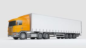 Logistics concept. Cargo truck transporting goods isolated on wh. Big cargo truck transporting goods isolated on white background. Side view. 3D illustration Royalty Free Stock Photography