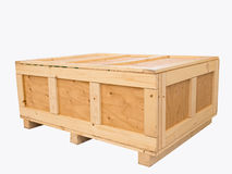 Big cargo wooden crate. Isolated on pure white background Stock Photos