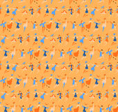 Big carnival. Many dancing peoples in masquerade, vector seamless  pattern Royalty Free Stock Photography