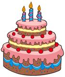 Big cartoon birthday cake Royalty Free Stock Photo