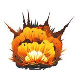 Big Cartoon Bomb Explosion. With shrapnel and fireball, isolated Stock Images
