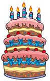 Big cartoon cake with candles Stock Photography