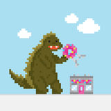 Big cartoon dinosaur attacking donut cafe vector illustration stock illustration