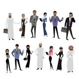 Big cartoon set of Arab men and women in different clothes. And characters, isolated on white, vector illustration Stock Photos