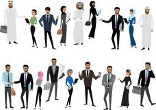 Big cartoon set of Arab men and women in different clothes and c. Haracters, isolated without background,stock vector illustration Royalty Free Stock Image