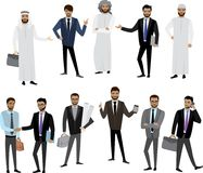 Big cartoon set of Arab men and women in different clothes and c. Haracters, isolated on white,stock vector illustration Stock Photo