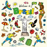 Big cartoon set of Brazilian templates Royalty Free Stock Photography