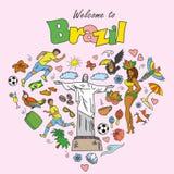 Big cartoon set of Brazilian templates Royalty Free Stock Photo