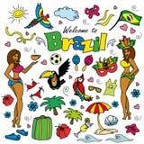 Big cartoon set of Brazilian templates Stock Image