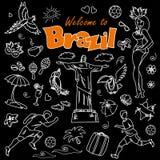 Big cartoon set of Brazilian templates Royalty Free Stock Photos