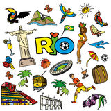 Big cartoon set of Brazilian templates. Big cartoon set of rio de janeiro templates - football, Brazilian accessories, clothes, trees, musical instruments Royalty Free Stock Images
