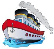Big cartoon steamship vector illustration
