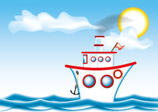 Big cartoon steamship Royalty Free Stock Photo