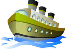 Big cartoon steamship Royalty Free Stock Photos