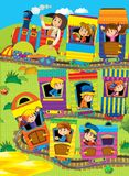 Big cartoon train kids on a trip - illustration for the children