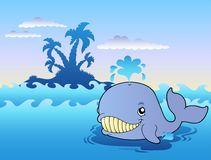 Big cartoon whale in sea Royalty Free Stock Images