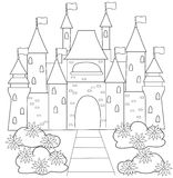 Big castle coloring page Royalty Free Stock Photos